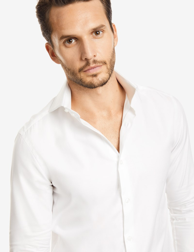 Men's Curtis White Twill Slim Fit Smart Casual Shirt - High Collar - Single Cuff