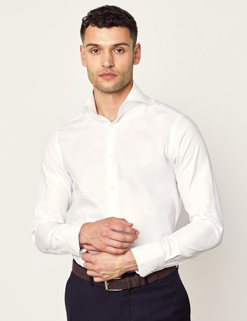 Men's Curtis White Twill Slim Fit Shirt - High Collar - Single Cuff