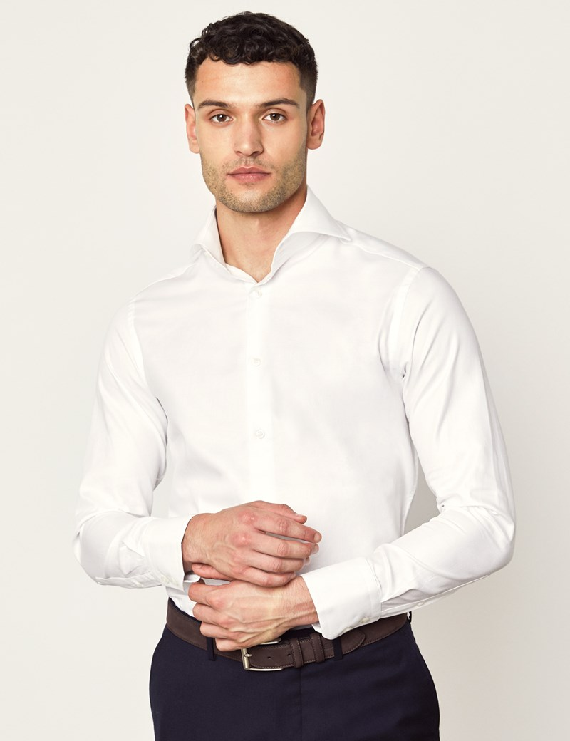 Men's Curtis White Twill Relaxed Slim Fit Shirt - High Collar - Single Cuff
