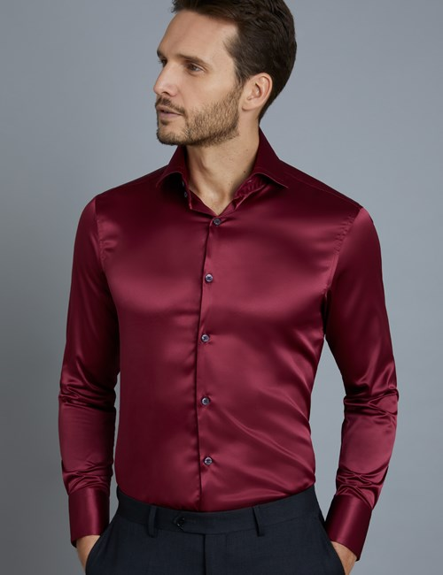 Men's Curtis Burgundy Satin Slim Fit Shirt - High Collar - Single Cuff