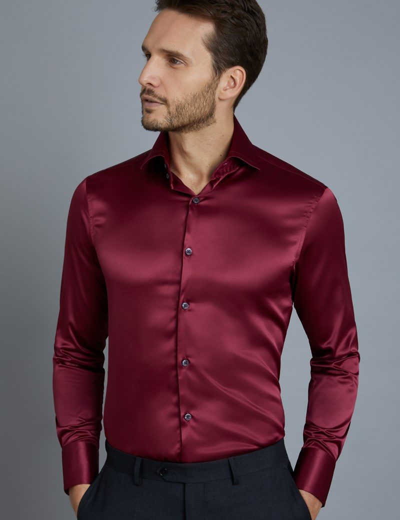 Casual Hemd – Slim Fit – York – Satin – Burgunder