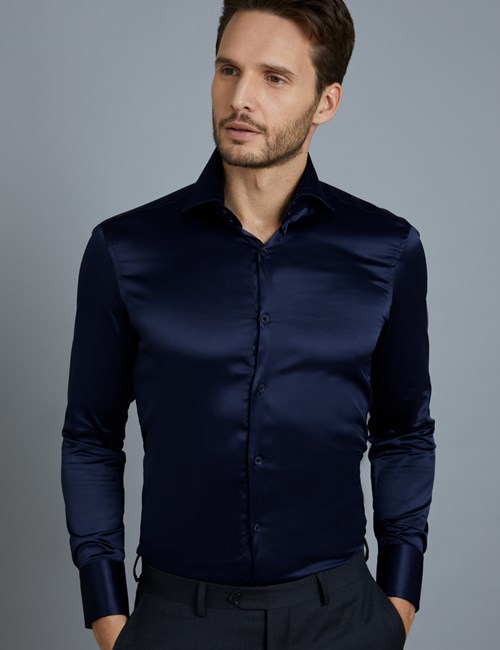 Men's Curtis Navy Satin Slim Fit Shirt - High Collar - Single Cuff