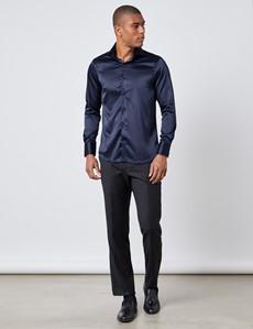 Men's Curtis Navy Satin Slim Fit Shirt - High Collar - Single Cuff