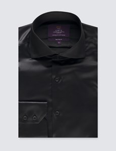 Men's Curtis Black Satin Slim Fit Shirt - High Collar - Single Cuff