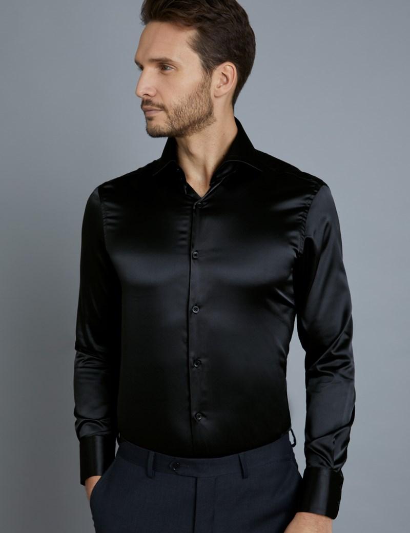 Men's Curtis Black Satin Slim Fit Shirt - High Collar - Single Cuff