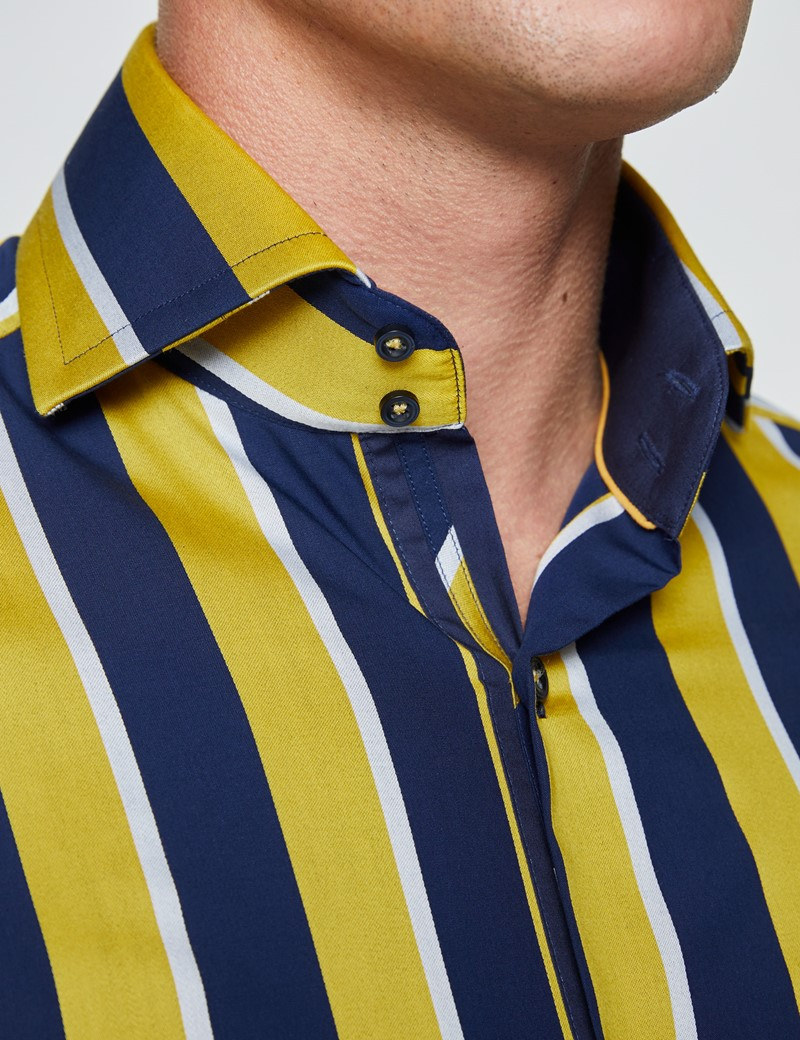 Men's Curtis Navy & Yellow Wide Stripes Relaxed Slim Fit Shirt - High Collar