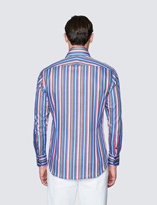 Men's Curtis Blue and Red Stipe Cotton Shirt - High Collar
