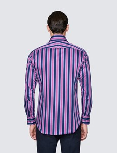 Men's Curtis Navy and Fuchsia Stripe Shirt - High Collar
