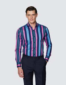 Men's Curtis Navy & Pink Multi Stripes Relaxed Slim Fit Shirt - High Collar