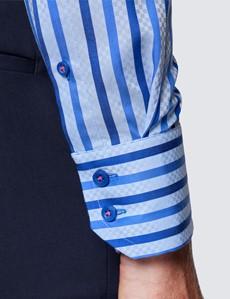 Men's Curtis Blue & Navy Stripe Shirt - High Collar