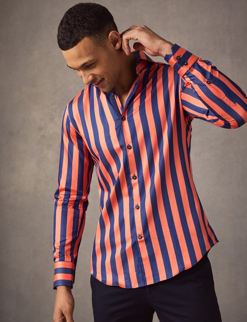 Men's Curtis Navy & Orange Bengal Stripe Slim Fit Shirt - High Collar - Single Cuff