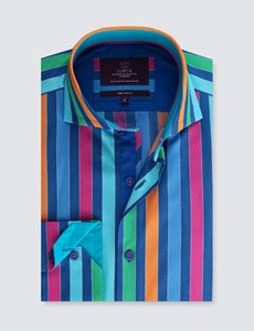 Men's Curtis Blue & Orange Multi Stripe Slim Fit Shirt - High Collar - Single Cuff