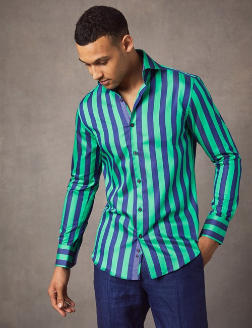 Men's Curtis Turquoise & Navy Bengal Stripe Slim Fit Shirt - High Collar - Single Cuff