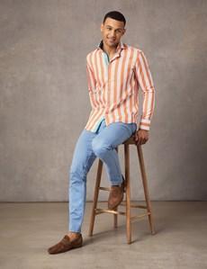 Men's Curtis White & Orange Bold Stripe Slim Fit Shirt - High Collar - Single Cuff