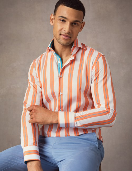 Men's Curtis White & Orange Bold Stripe Slim Fit Shirt - High Collar - Single Cuff