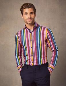 Men's Curtis Yellow & Pink Bold Stripe Slim Fit Shirt - High Collar - Single Cuff