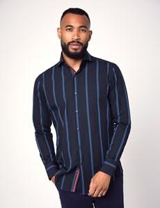 Men's Curtis Navy & Blue Stripe Slim Fit Shirt - High Collar - Single Cuff
