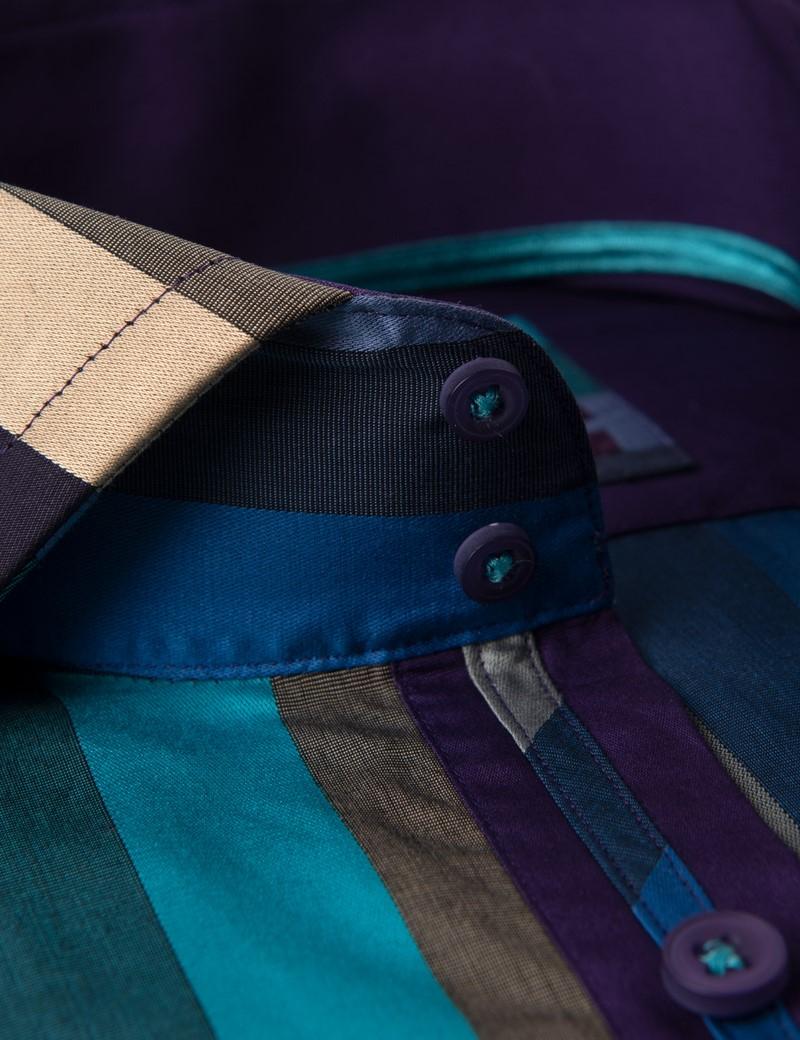 Men's Curtis Beige & Purple Wide Stripe Slim Fit Shirt - High Collar - Single Cuff
