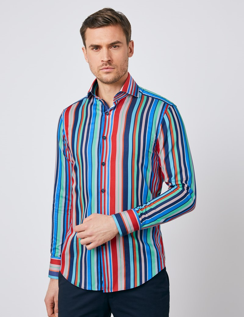 Short Sleeve HAWES /& CURTIS Mens Navy /& Yellow Multi Stripe Tailored Fit Shirt