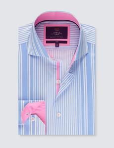 Men's Curtis White & Blue Stripe Slim Fit Shirt - High Collar - Single Cuff