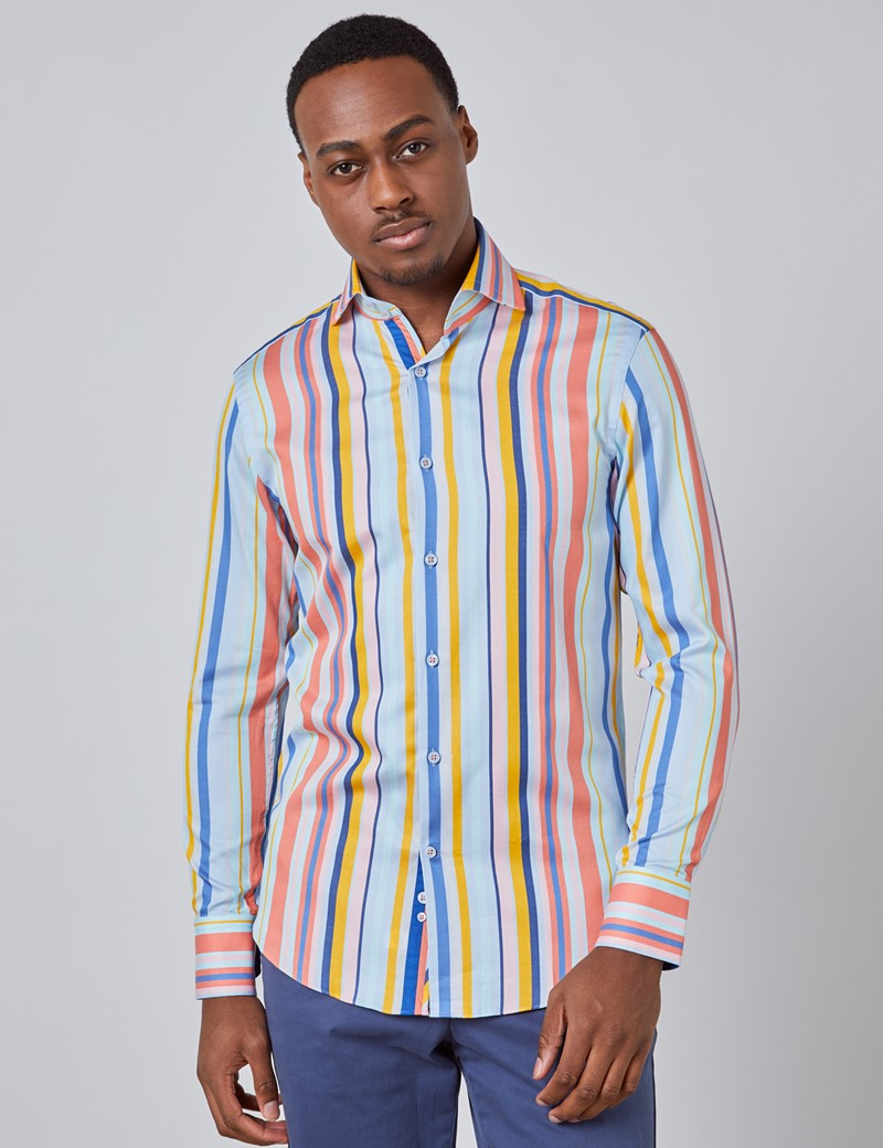 Men's Curtis Blue & Orange Multi Stripe Relaxed Slim Fit Shirt - High Collar - Single Cuff