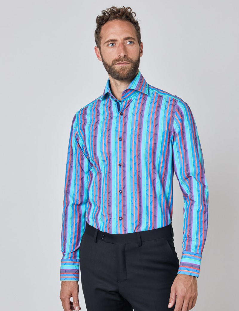 Men's Curtis Blue & Orange Jacquard Multi Stripes Relaxed Slim Fit Shirt - High Collar - Single Cuff