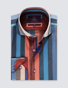Men's Curtis Blue & Purple Jacquard Multi Stripes Relaxed Slim Fit Shirt - High Collar - Single Cuff