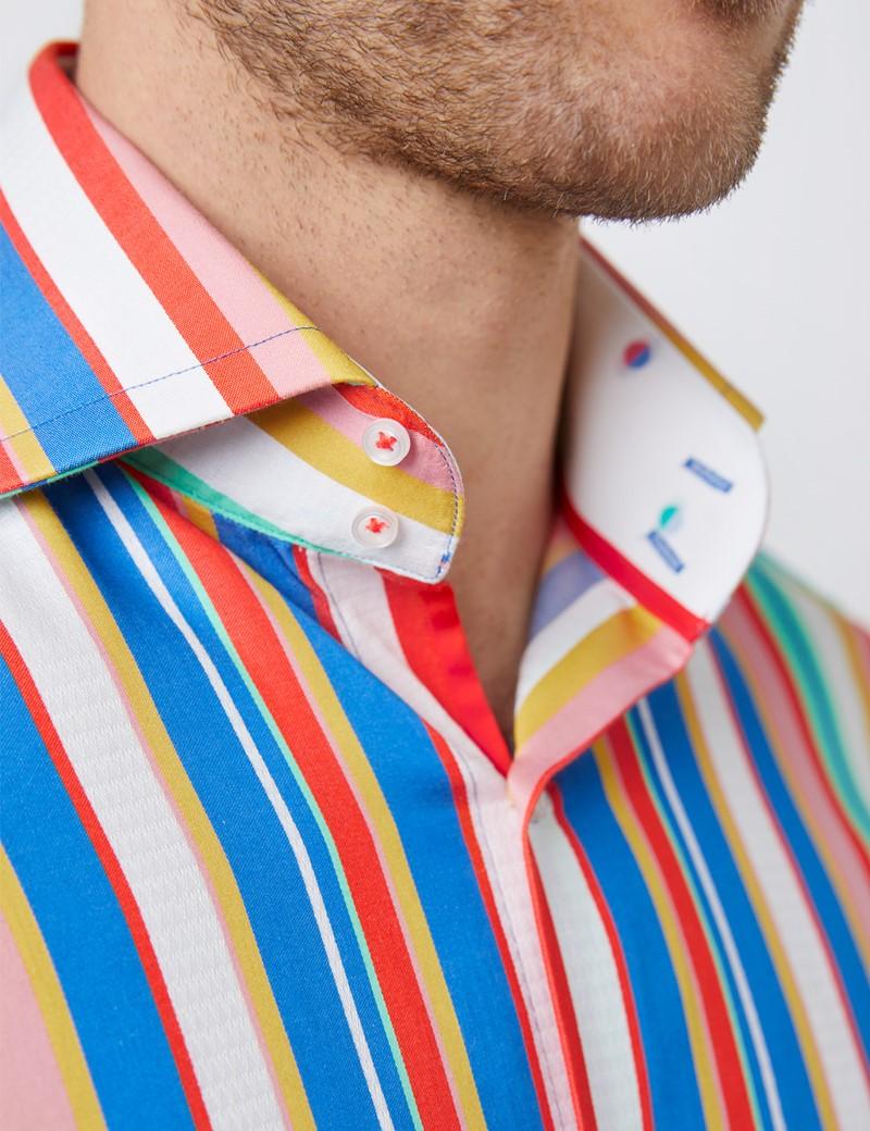 Men's Curtis Green & Orange Stripe Relaxed Slim Fit Shirt - High Collar