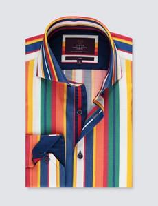 Casualhemd – Relaxed Slim Fit – hoher Kragen – bunte Streifen