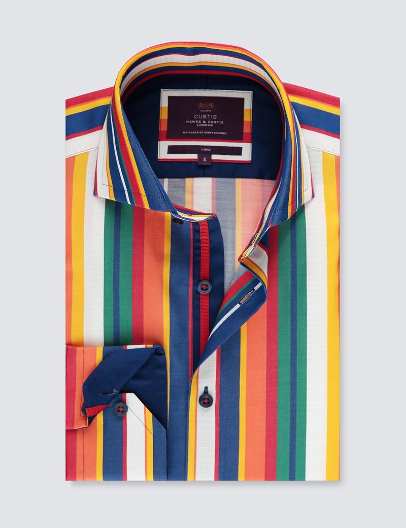 Men's Curtis Blue & Orange Multi Stripe Relaxed Slim Fit Shirt - High Collar