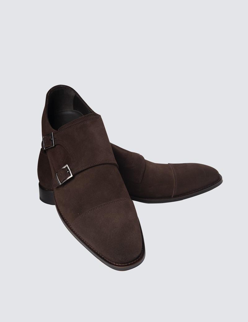 Men's Brown Stuart Suede Monk Shoe