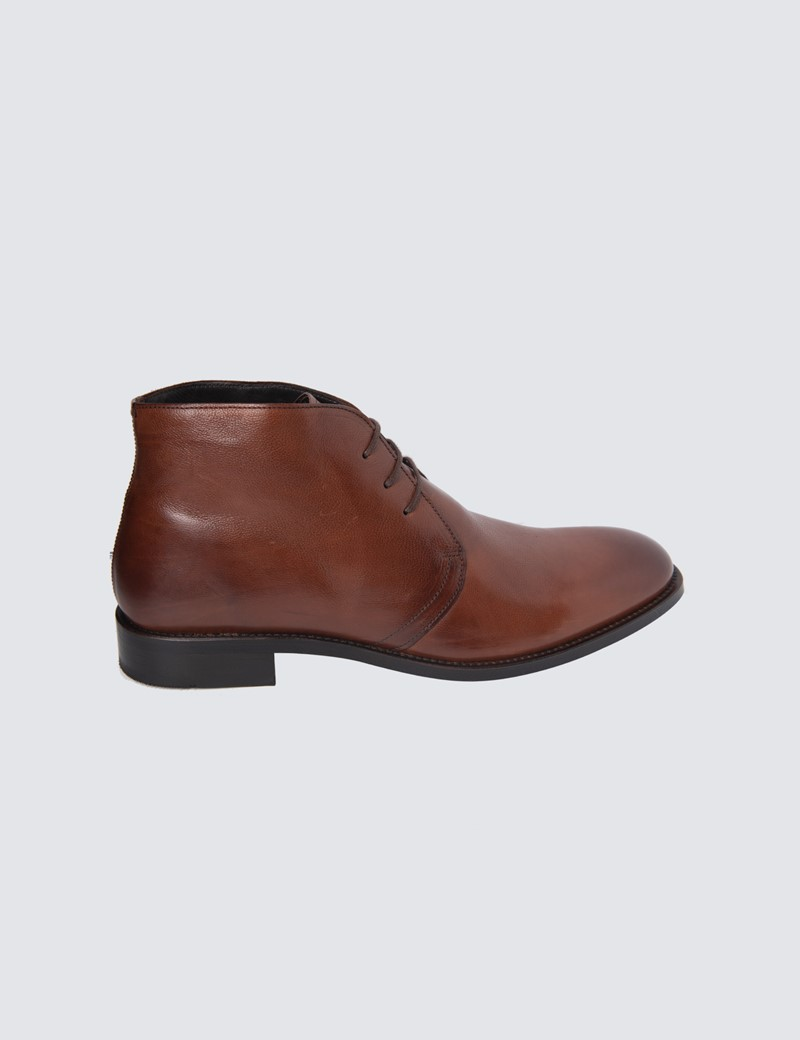 Men's Tan Derby Leather Boot