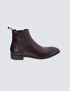Men's Burgundy Leather Chelsea Boot