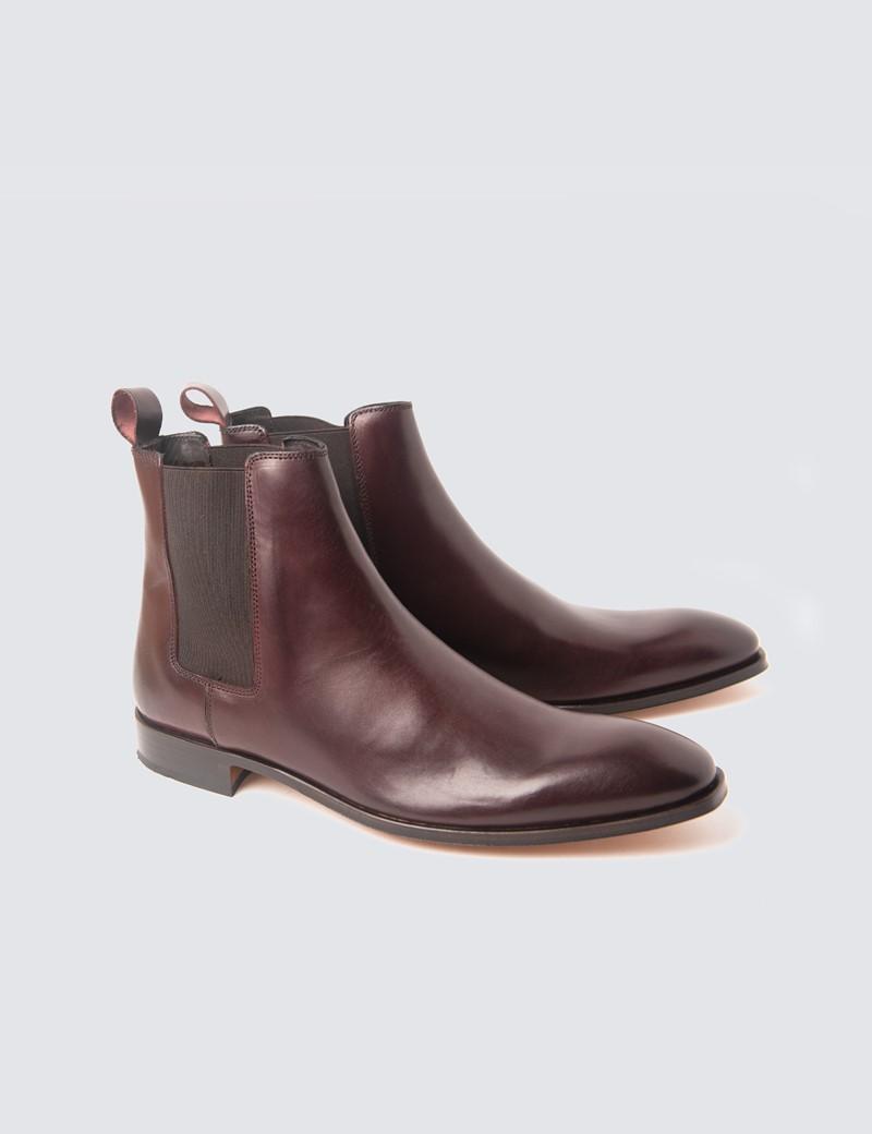 Men's Burgundy Leather Chelsea Boot