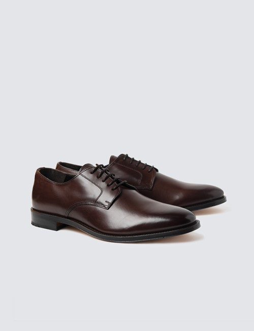 Men's Brown Leather Plain Derby Shoe