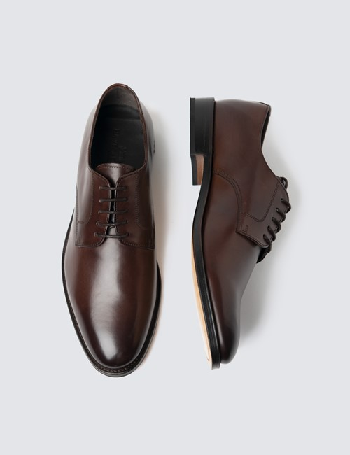 Men's Brown Leather Plain Derby Shoe