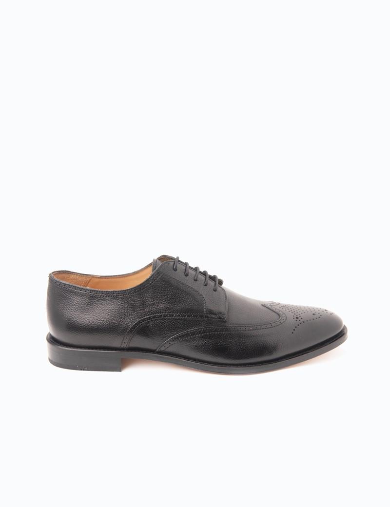 Men's Black Leather Derby Brogue Shoe