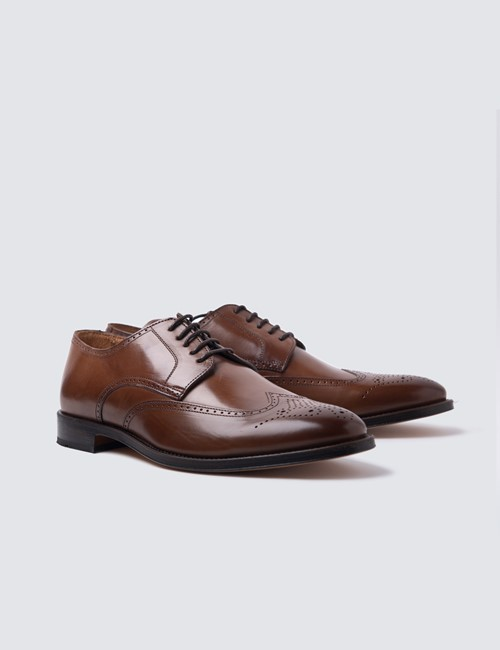Men's Tan Leather Derby Brogue Shoe