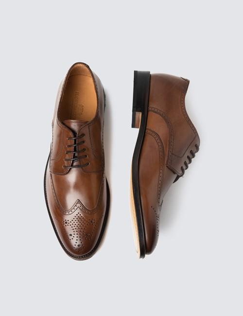 Men's Tan Leather Derby Brogue Shoe