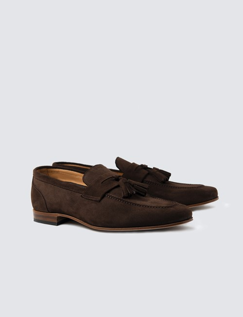 Quasten Slipper – Tassel  Loafer – Veloursleder – braun