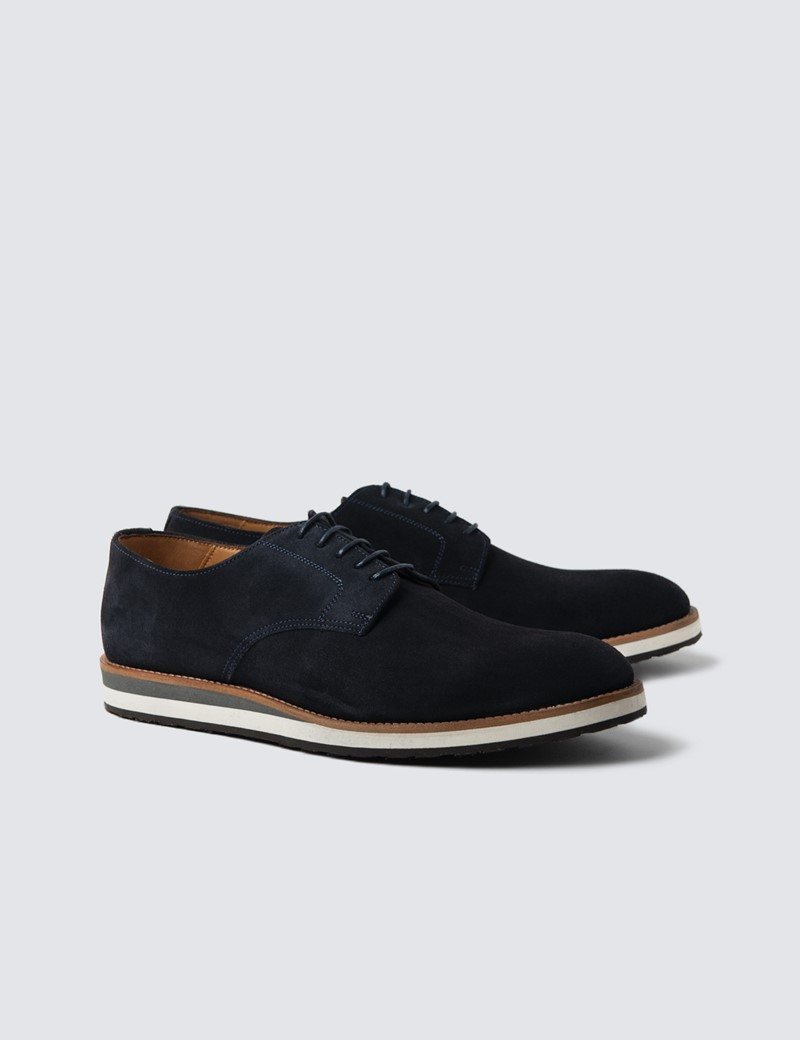 Men's Navy Suede & Leather Trainers
