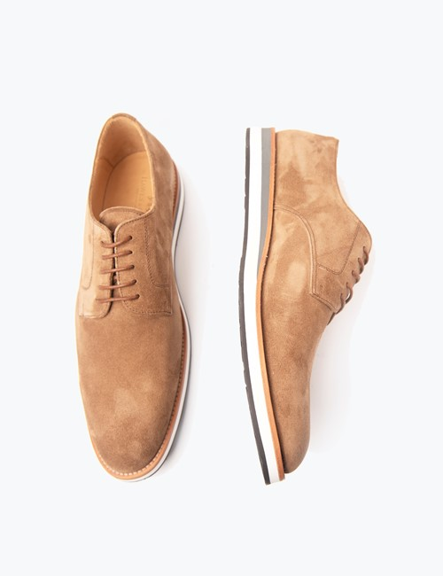 Men's Tan Suede & Leather Shoes