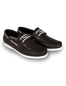 Men's Brown Leather Boat Shoe