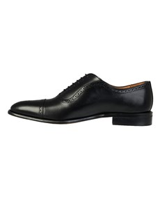 Men's Black Leather Toe Cap Semi Brogue
