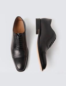 Men's Black Leather Toe Cap Semi Brogue