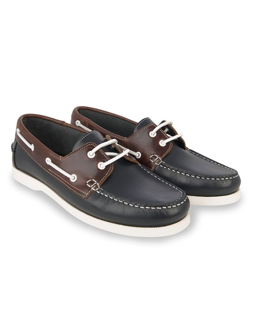 Bootsschuh – Leder – Marineblau & braun