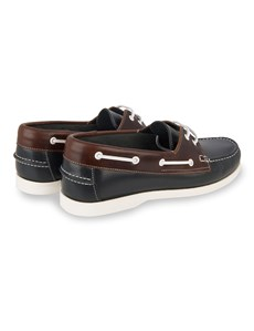 Men's Navy & Brown Two Tone Leather Boat Shoe
