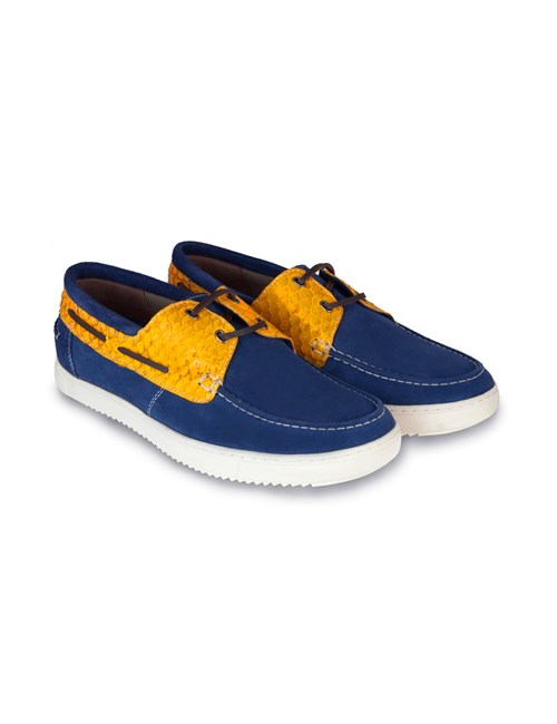 Men's Navy & Yellow Suede Boating Shoe