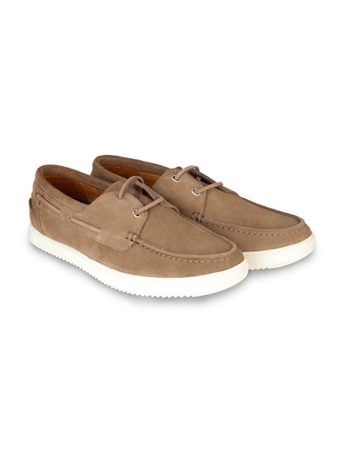 Men's Beige Suede Boating Shoe