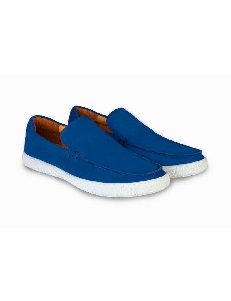 6fb23b53ded50 Men's Blue Suede Slip On Deck Shoe | Hawes & Curtis